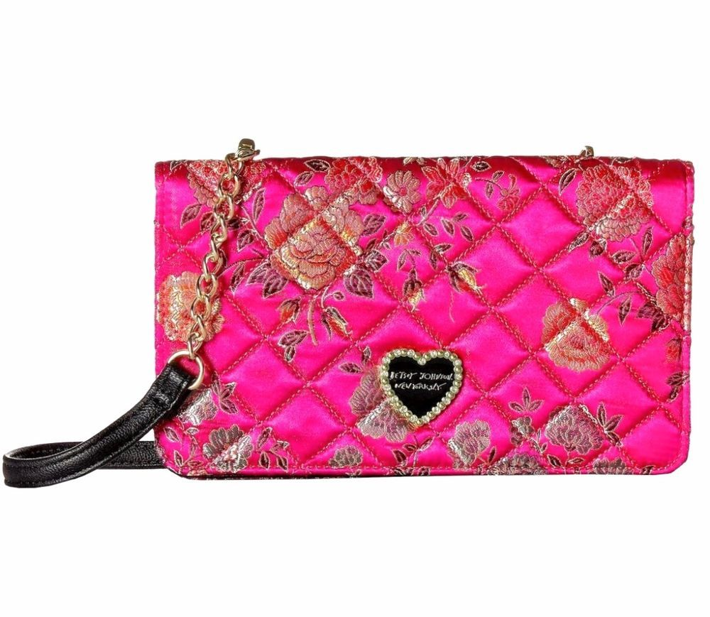 206f70a0dd5d Betsey Johnson Handbag Pink Floral Crossbody Bag Clutch or Phone ...