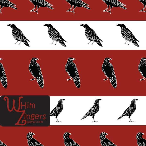 A digital repeat pattern for seamless tiling. #repeatpattern #seamlesspattern #textiledesign #surfacepatterndesign #vectorpatterns #homedecor #apparel #print #interiordesign #decor #repeat #pattern #repeat #repeating #tile #scrapbooking #wallpaper #fabric #texture #background #whimzingers #crow #birds #animals #black #white #illustration #red #stripes