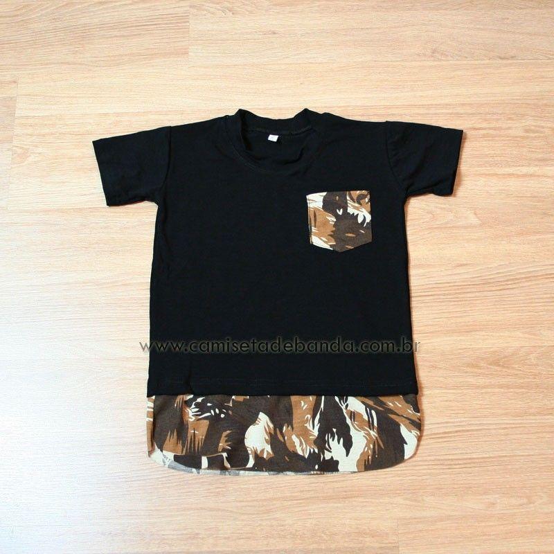 Camiseta Infantil Masculina Longline Barra Estendida Double Layer Com Bolso  Detalhes Com Estampa Camuflada  criança  estilo  swag  menino 2c173632aa6