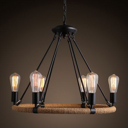 Vintage Rope Round Pendant Light Fixture With Chain Home Deco Retro Iron Lamp