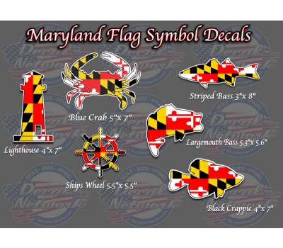 Maryland Flag Decal Crab Decal Light House Rock Fish Striped Bass Ships Wheel Black Crappie Largemouth Maryland Blue Crab Maryland Flag Decal Blue Crab
