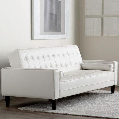 Wade Logan Derek Faux Leather Sleeper Sofa Upholstery White