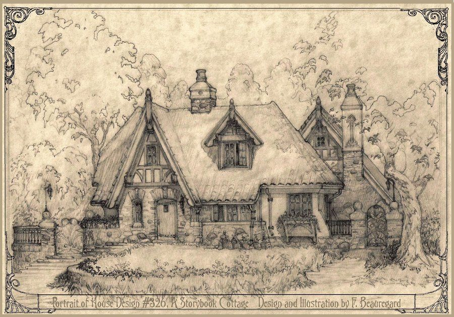 Pencil Drawing Of House 326 A Storybook Cottage Style