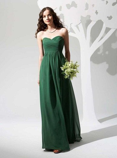 Dark Green Long Bridemaid Dress
