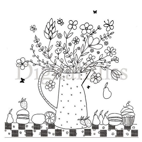 INSTANT DOWNLOAD Adult Coloring Page, Colouring Page, Flower Pitcher ...