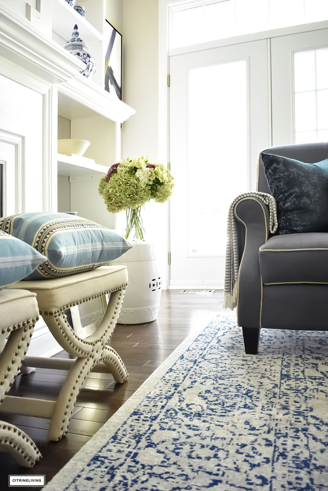 FALL HOME TOUR USING RICH COLORS, BRASS AND GOLD | Stools, Living ...