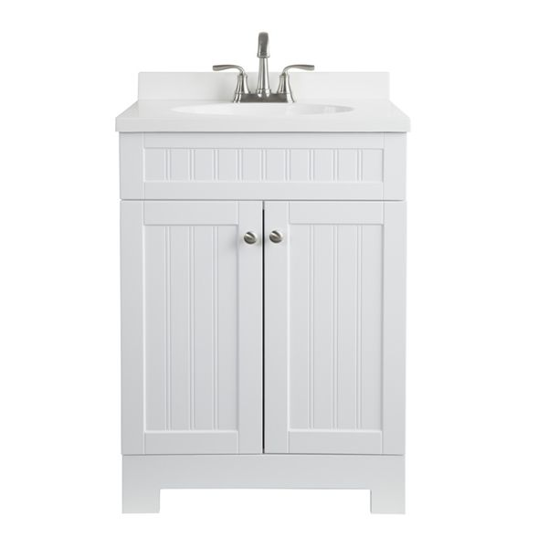 Style Selections 25 In Ellenbee White Bathroom Vanity With Cultured Marble Top Single Sink Bathroom Vanity White Vanity Bathroom Bathroom Vanity