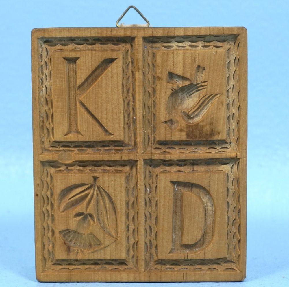 German Black Forest Wood Carving 4 Field Springerle Mold Kd Letters