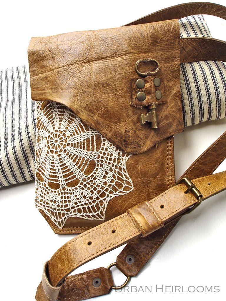 29da45c886 Boho mini messenger bag with vintage doily and antique key by Urban  Heirlooms. www.etsy.com shop UrbanHeirlooms  leather  boho  prairie   crochet  doily ...