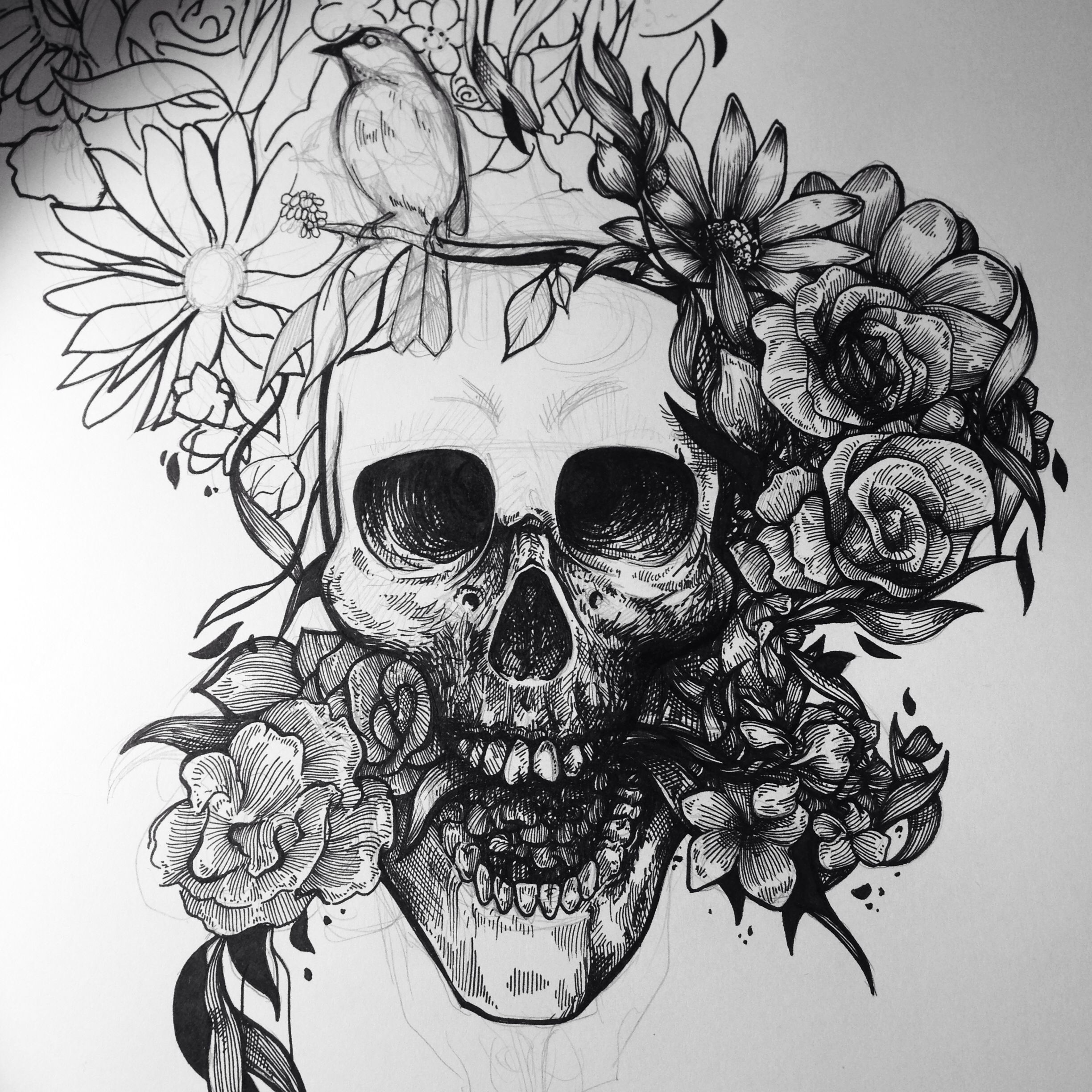 Skull flower | Arte com caveira | Pinterest | Tattoo