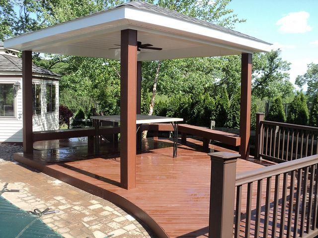 Pool Deck With Roof By Www Breyerconstruction Com Via Flickr Pool Shade Decks Backyard Backyard