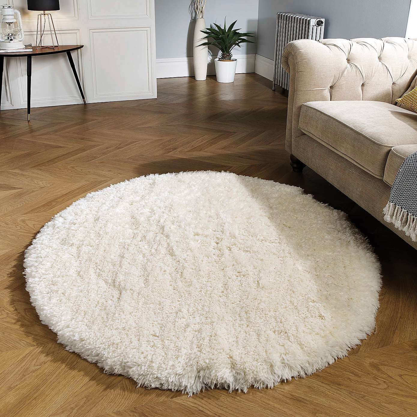 Ivory Polar Shaggy Circle Rug Dunelm Small Bedroom Rugs Circle Rug Rugs In Living Room