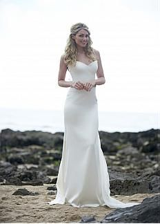 Elegant Satin & Organza Spaghetti Straps Neckline Sheath Wedding Dress