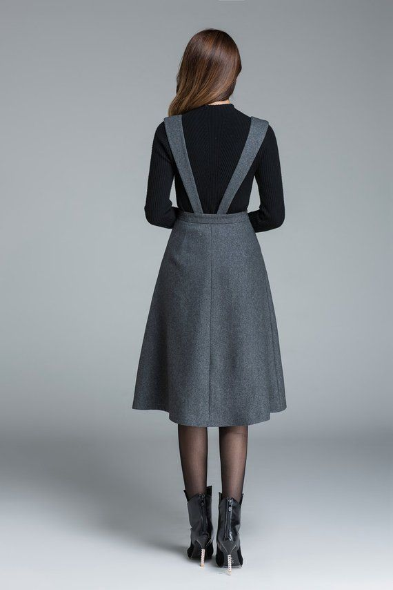 Midi wool dress, knee length dress, dark grey dress, dress with pockets, high waisted dress, casual dress, winter dress for woman 1645#