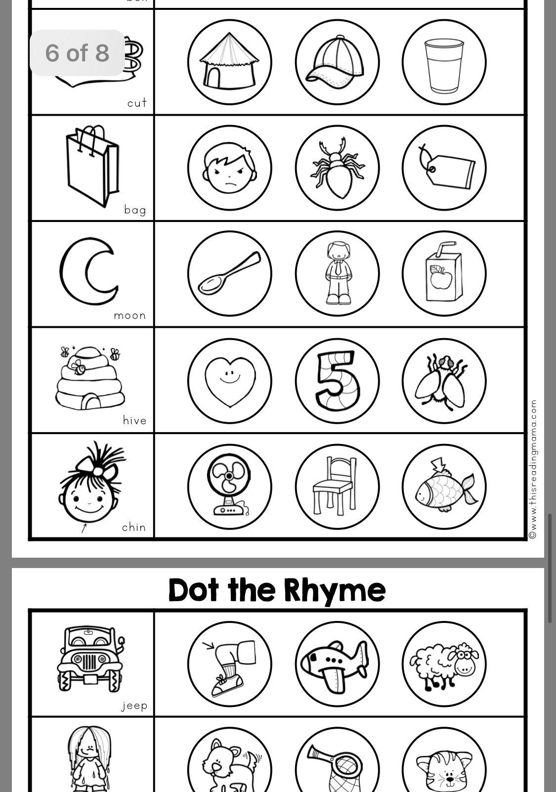 Pin By Ktsure On Rhyming Worksheet