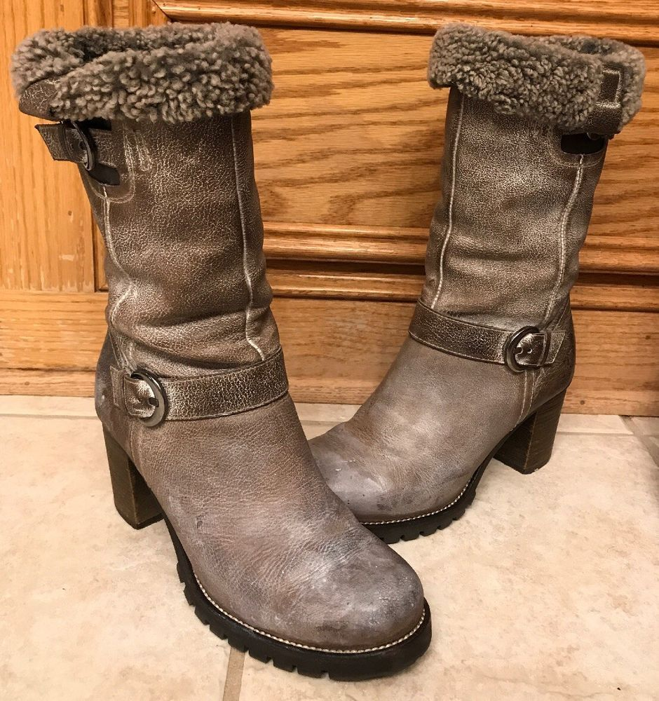 98f96db41ed8 STEVEN BY STEVE MADDEN BOOTS size 7.5 GRAY DISTRESSED LEATHER double buckle   fashion  clothing