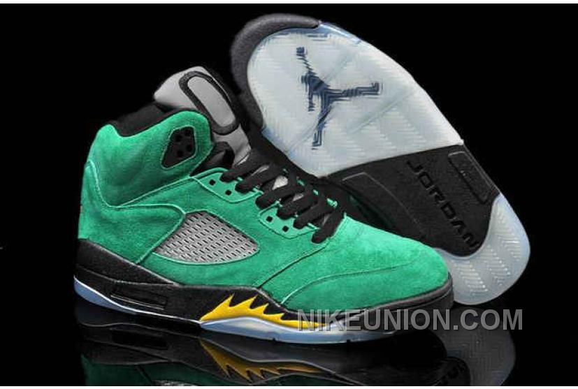 Now Buy Nike Air Jordan 5 Mens All Green Black Yellow Shoes New Save Up  From Outlet Store at Footlocker.