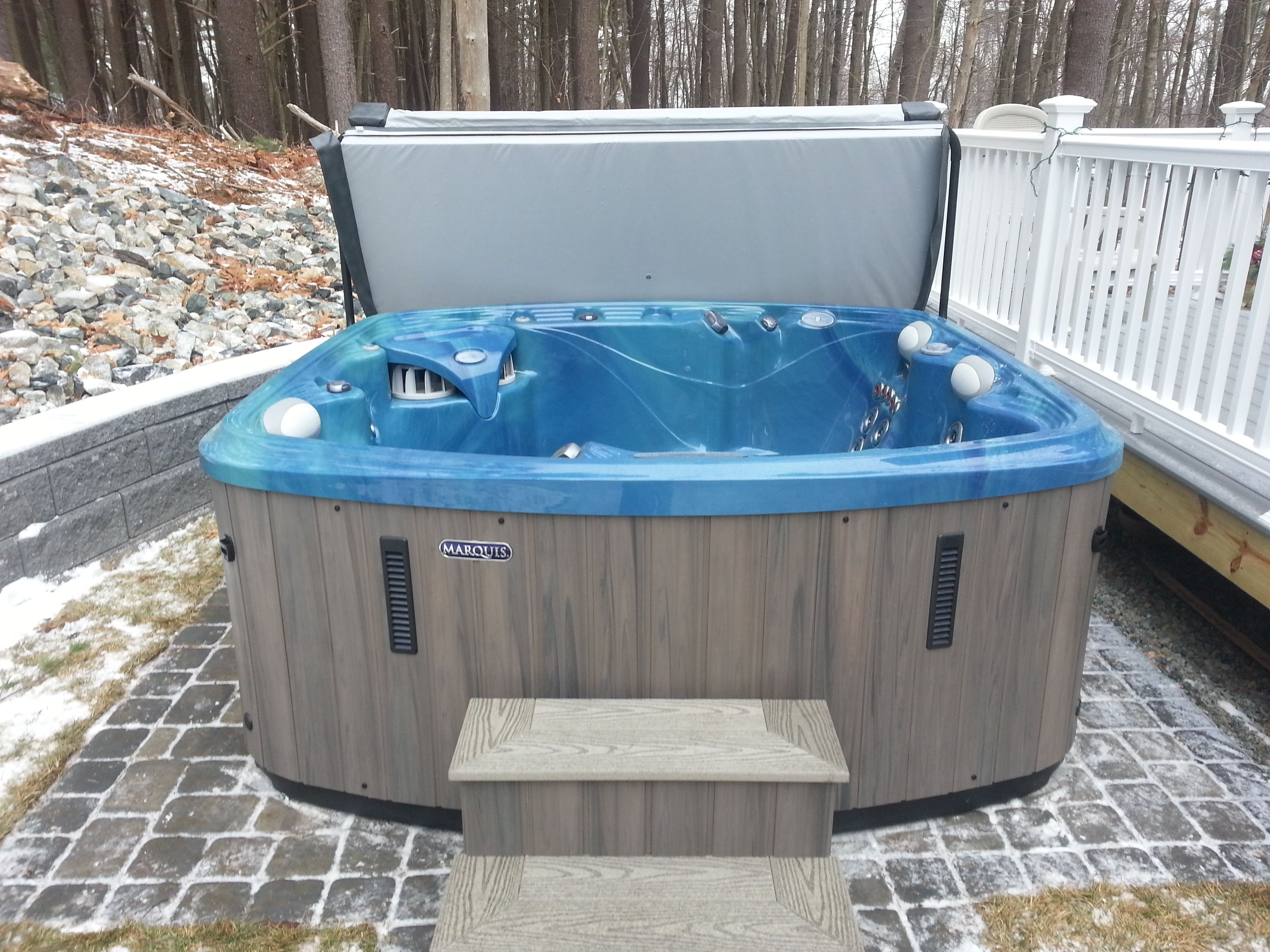A nice snowy hot tub delivery in Amesbury MA. This is a beautiful ...