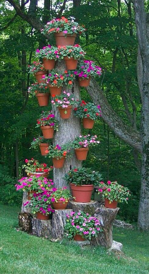 Vertical Container Garden Using An Tree Trunk Containergardening