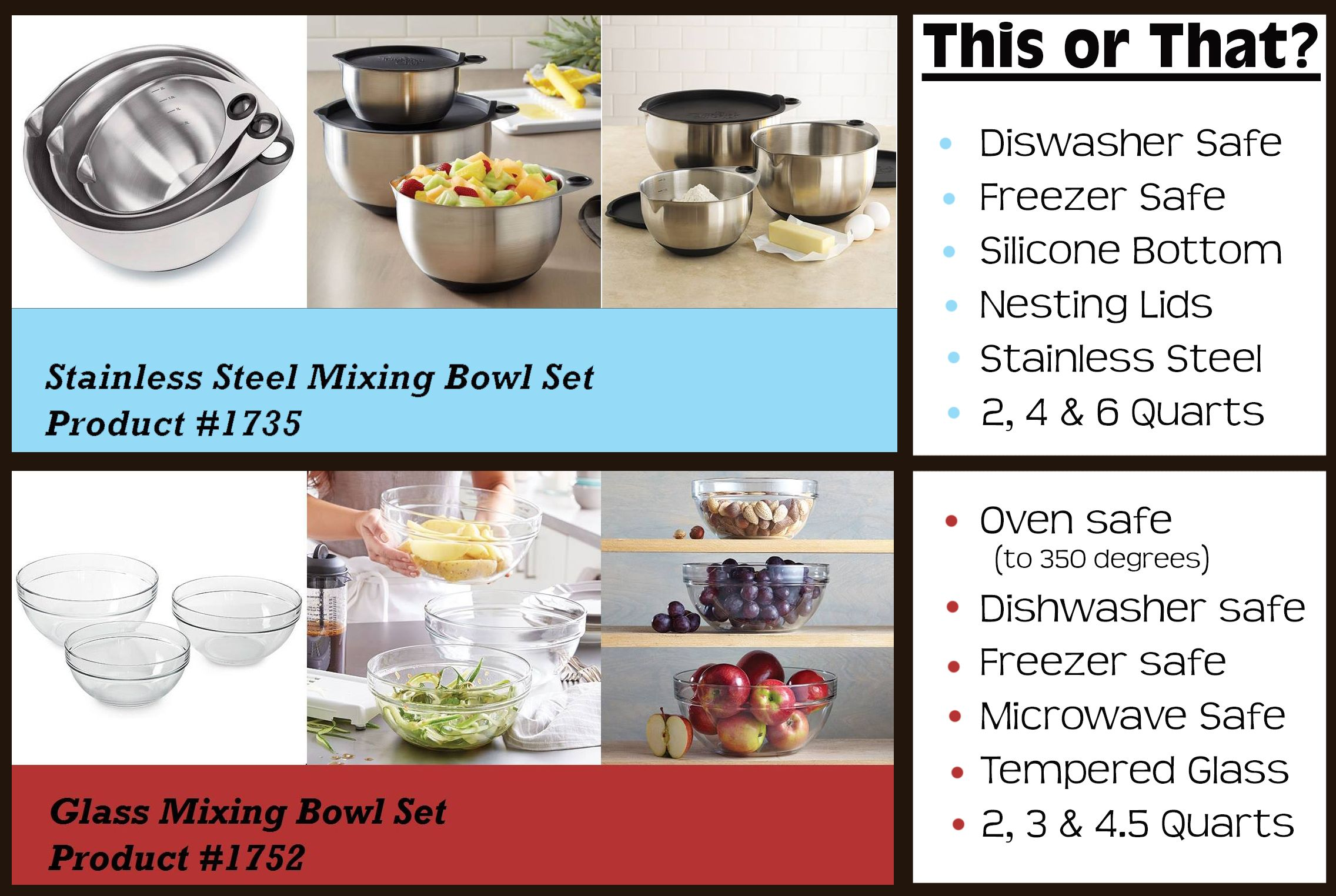 Pampered Chef comparison of the mixing bowls; glass or stainless ...