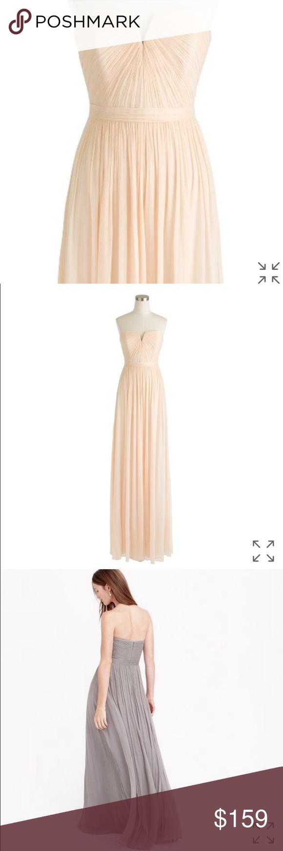 J Crew Nadia Champagne Silk Gown 0P | Pinterest