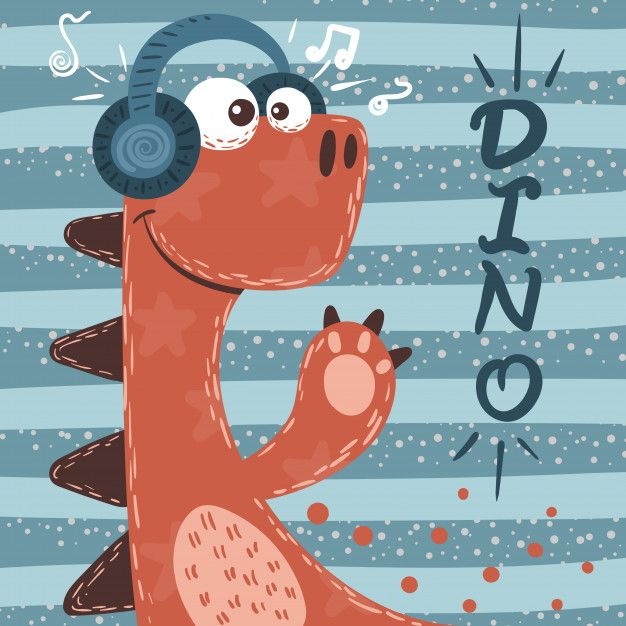 Cute dino characters. music illustration. Premium Vector