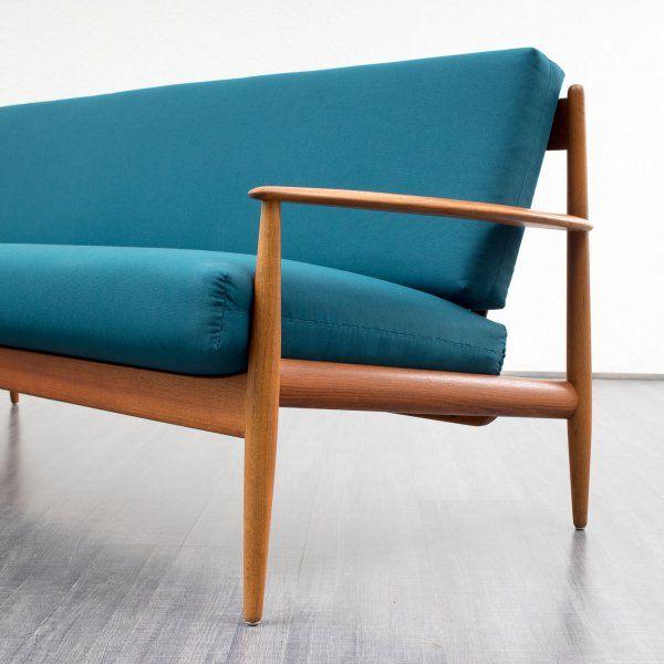 sitzmöbel_sofas Elegante 60er Jahre Couch, Teak massiv, Grete Jalk ...