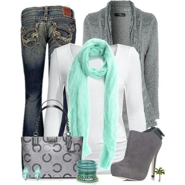 Love the jeans, sweater, shirt, and pops of the green. Purse is cute, but the shoes are too spiky.