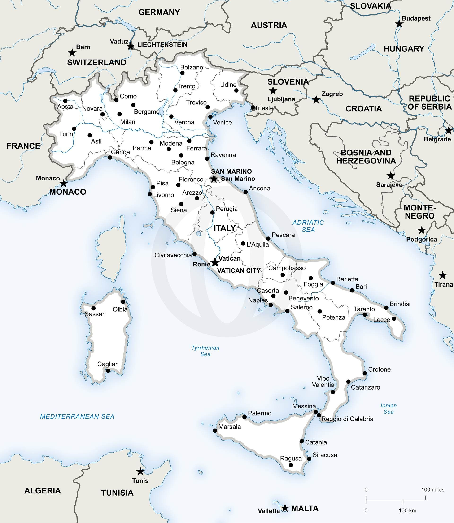 Vector Map of Italy Political Vector format Italy and Europe