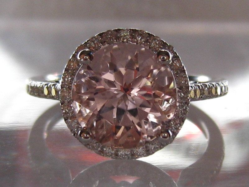 Peachy Pink Morganite in White Gold Diamond Halo by JuliaBJewelry, $1,095.00