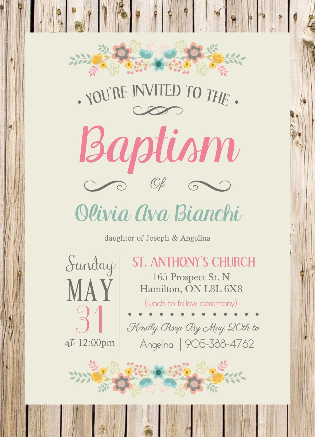 Baptism Invitation, Christening, Church, Ceremony, Party, Rustic ...