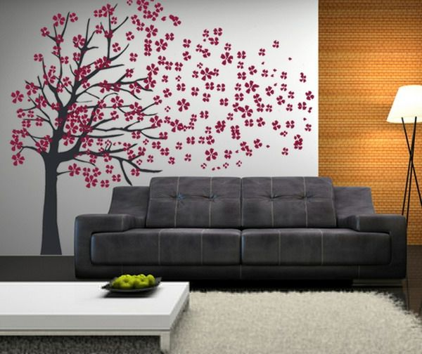 wundersch ner baum mit rosa bl ten an der wand malen wand. Black Bedroom Furniture Sets. Home Design Ideas