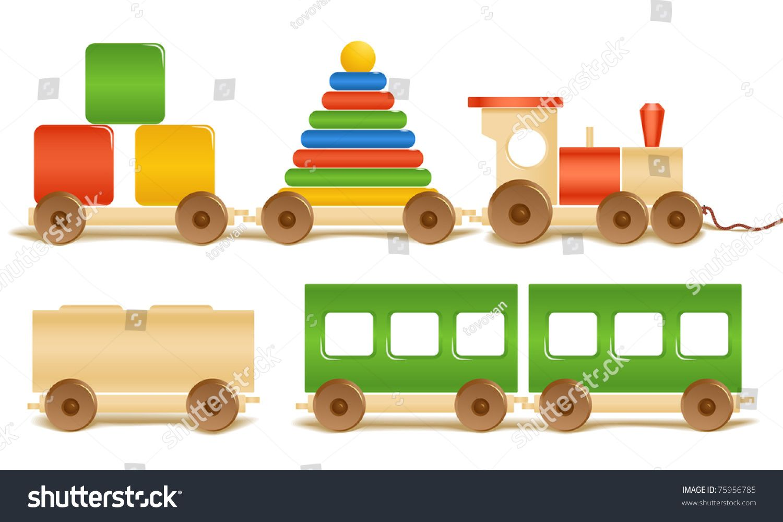 Toys car clipart  Wooden color toys Pyramid train cubes  kids  Pinterest  Toys