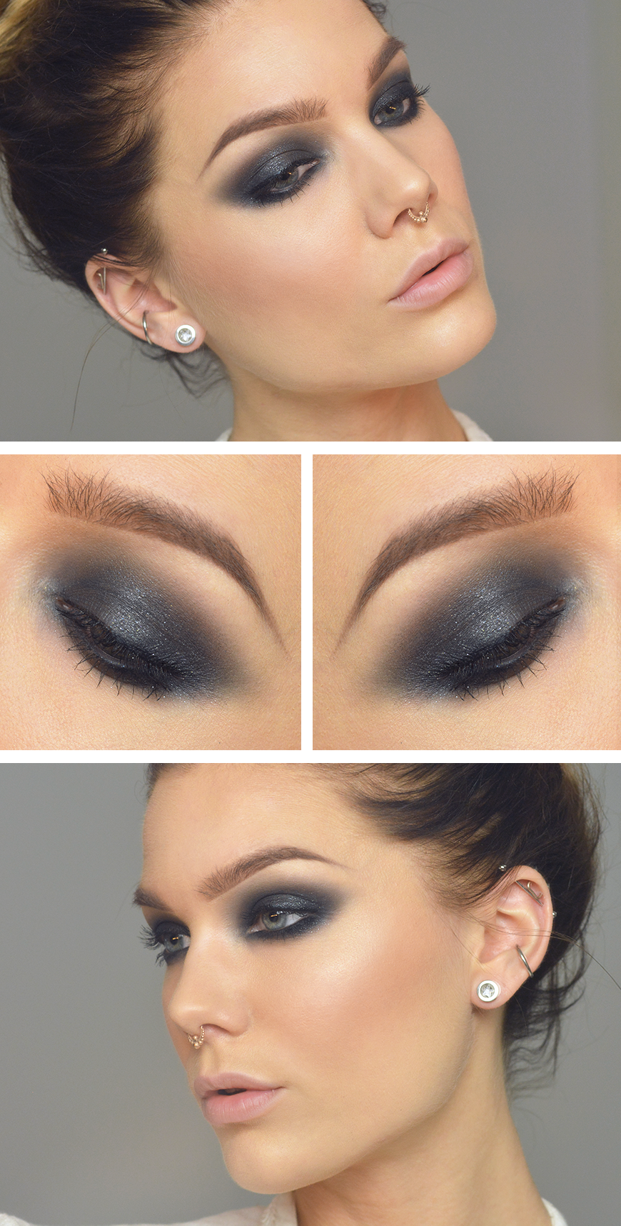 Dressed in Mint make up. GRAY SMOKY with coral accent
