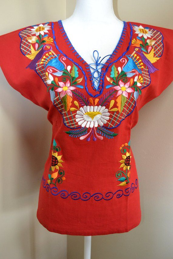 aab0f7bec2 Manta shirt medium mexican shirt embroidered shirt  handmade shirt   colorful mexican shirt  frida ka