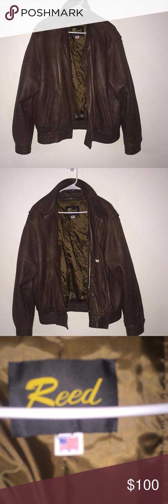 Vintage Reed Leather Jacket 100 Authentic Reed Leather Jacket Brown In Color Really Nice No Tears No Rips Comes Leather Jacket Jackets Brown Leather Jacket [ 1740 x 580 Pixel ]