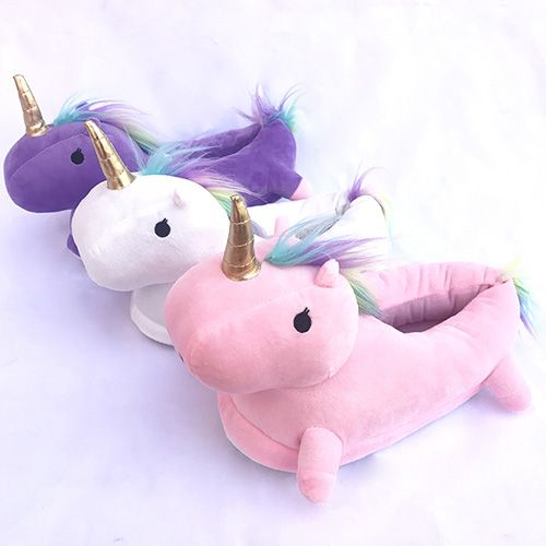 Photo of Glowing Unicorn Plush Slippers Winter Shoes