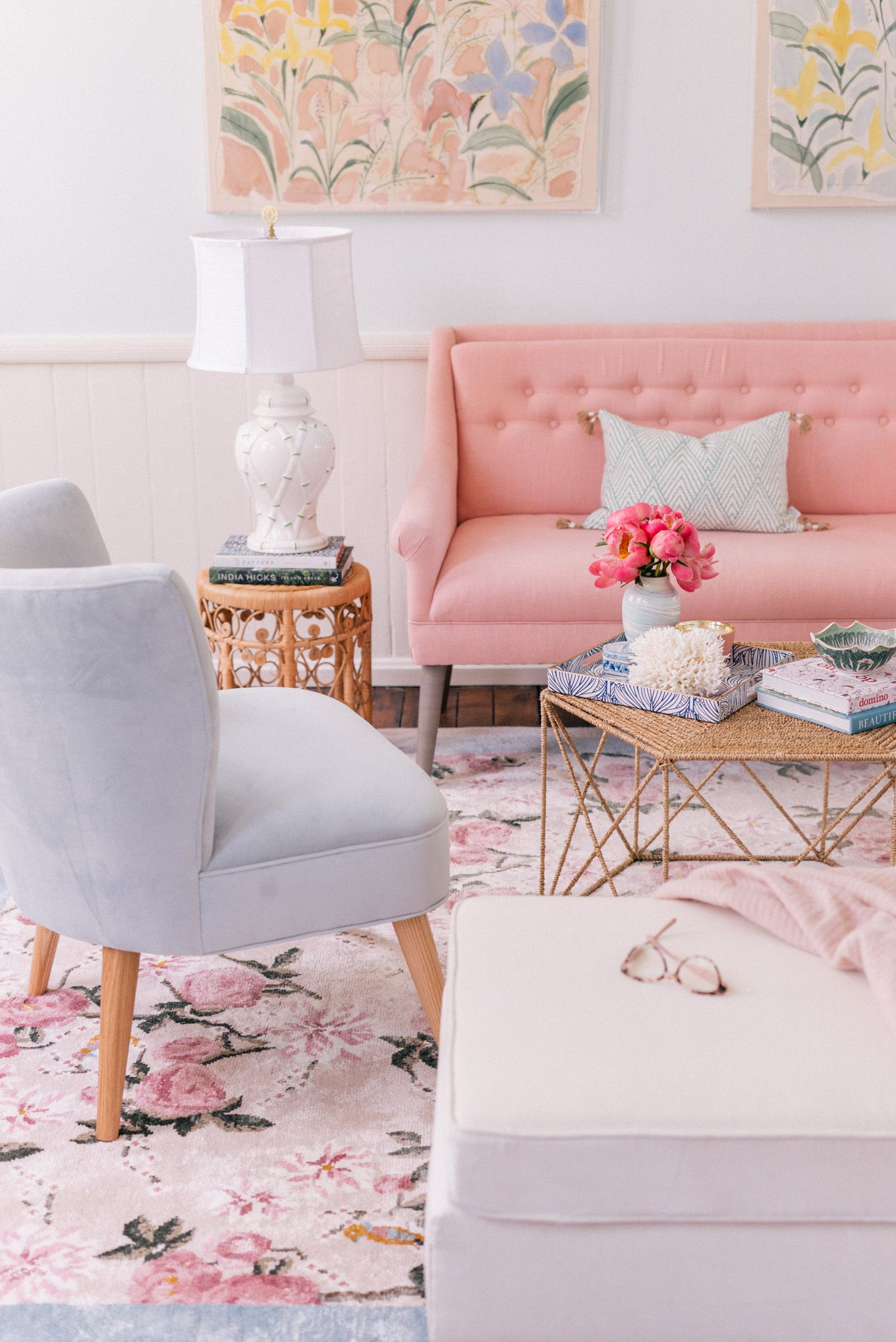 Gal Meets Glam x Lulu & Georgia Garden Party Rug  Gal Meets Glam is part of Pastel living room - Inspired by my love for pastels and chinoiserie, I designed this beautiful rug with Lulu & Georgia  Find out how I styled the rug in our new office!