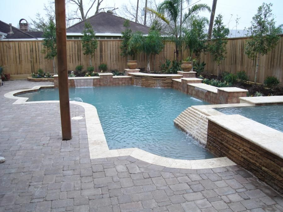 Classical Lines Tile Stacked Stone Pool Inspiration