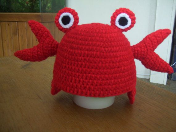 Crocheted Crab hat/ Photo prop/ beanie/ Mr. Crab inspired