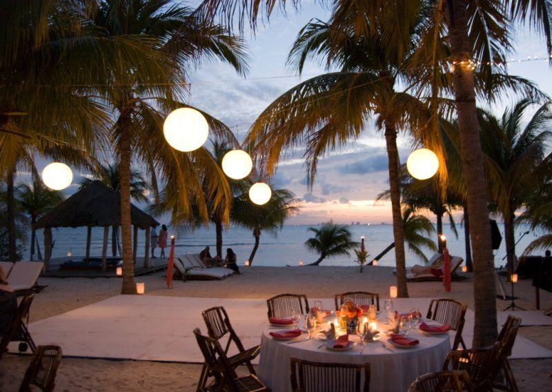 Sunset Beach Reception Set -up | Romantic beach wedding ...