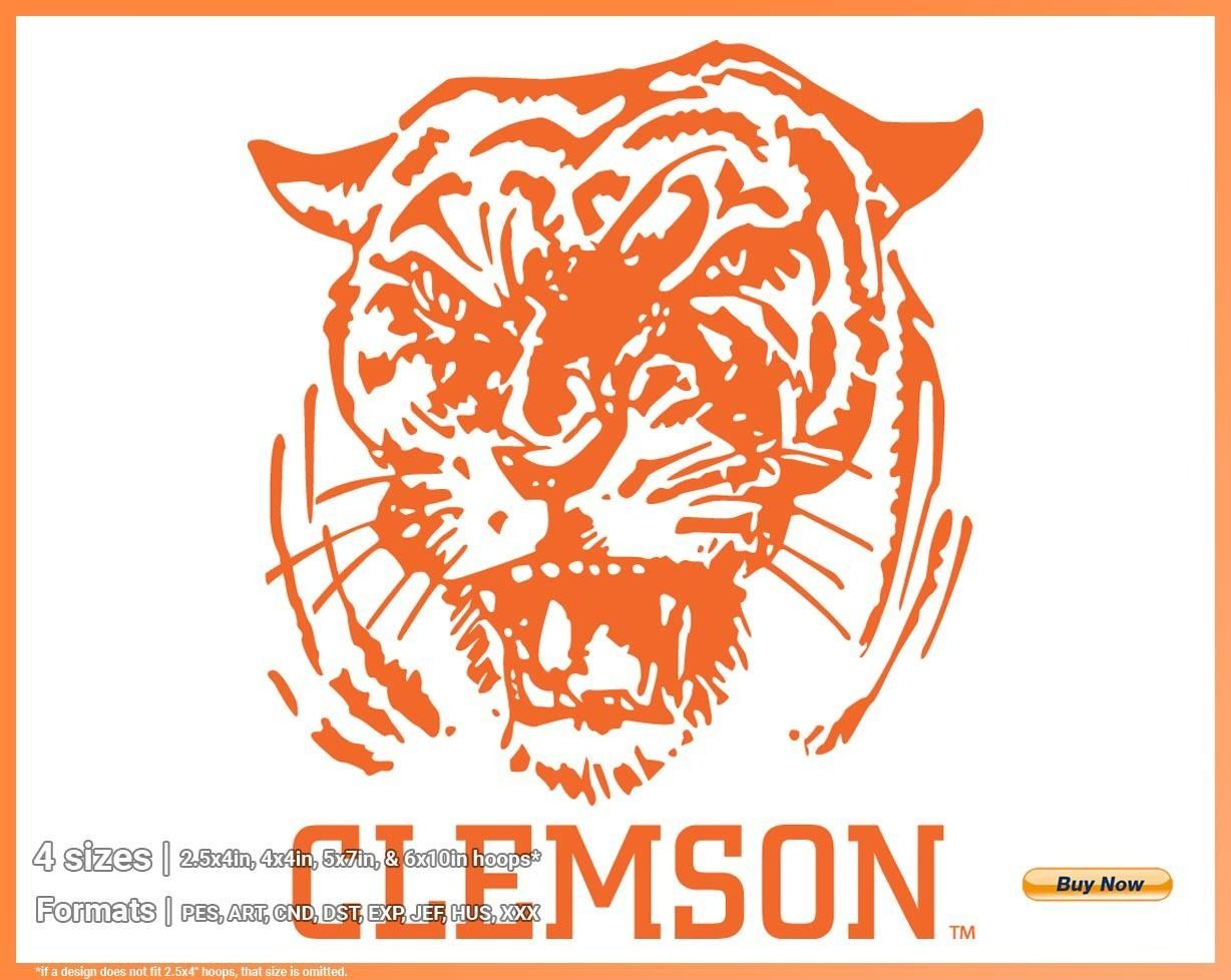 Clemson Tigers College Sports Embroidery Logo In 4 Sizes Spln000903 Sports Logos Embroidery Vector For Nfl Nba Nhl Mlb Milb And More In 2020 Clemson Clemson Tigers Clemson Tigers Football
