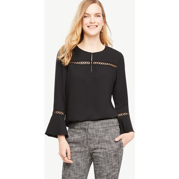 Ann Taylor Petite Lace Detail Flare Sleeve Top ($70) ❤ liked on Polyvore featuring tops, black, matte jersey, jewel neck top, lace detail top, long length tops and ann taylor tops