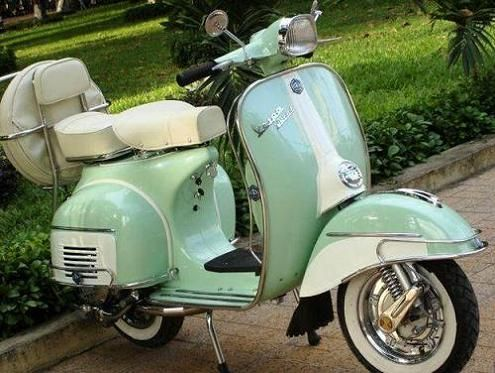 Seafoam And White Vintage Vespa Gorgeous Needs Some Red Trim