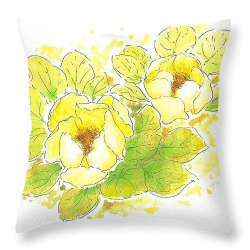 "Yellow Peony Throw Pillow 14"" x 14"""