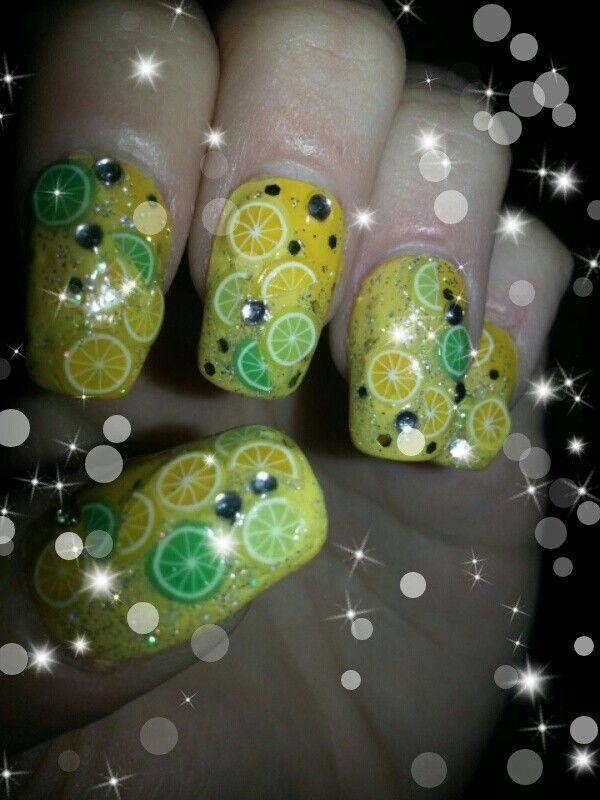 Lemonade nail art. By Cassie Chadbone. I used fimo fruit lemon and ...