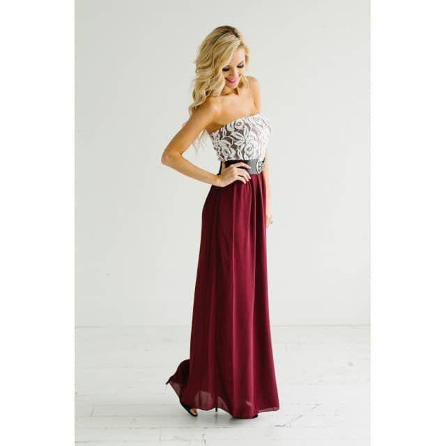 Crimson with White Lace Maxi Dress - Lola Belle Boutique