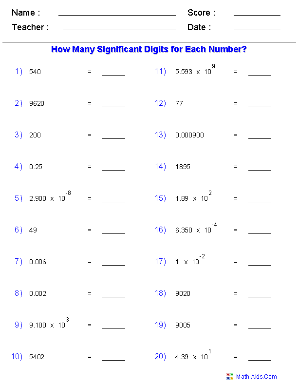 Significant Figures Worksheets +-/x | Chemistry | Chemistry ...