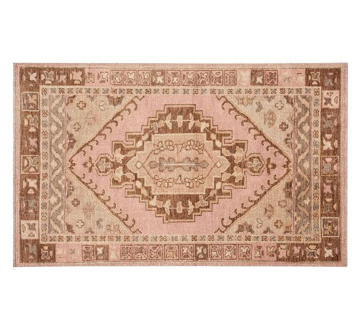 Francine Blush Hand Knotted Kilim Border Rug Decor