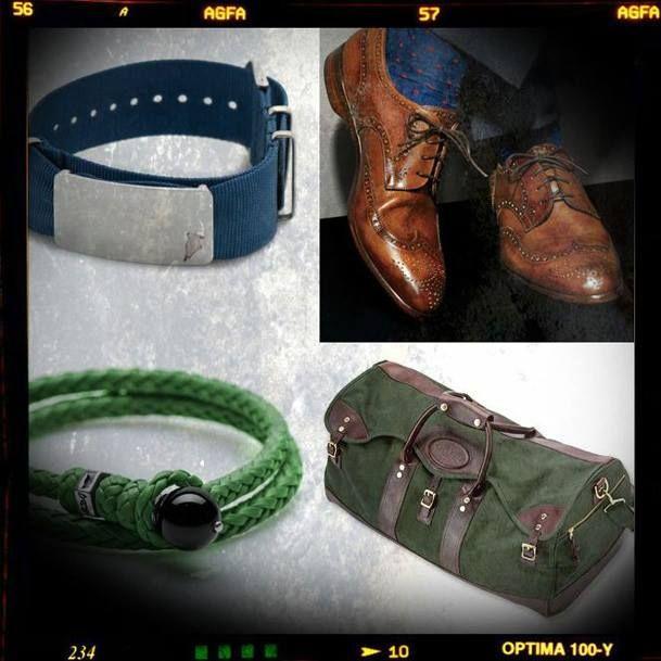"Molto più che ...dettagli! #shoes #travelbag #bracelet #blue #green #materials #metal #accessories #combination #menstyle #scoubidou #preppy ------------------------------------------------------ BDG ""Preppy"" natostrap, blue BDG ""Scoubidou"" bracelet, green"